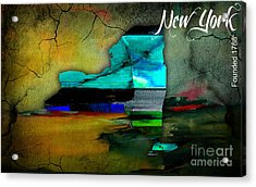New York Map Watercolor Acrylic Print