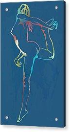 Nude Dancing Pop Stylised Art Poster Acrylic Print by Kim Wang