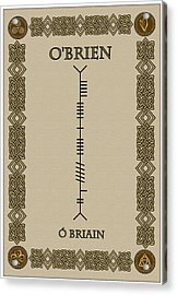 Acrylic Print featuring the digital art O'brien Written In Ogham by Ireland Calling