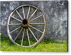Antique Wagon Wheel Acrylic Print by Olivier Le Queinec