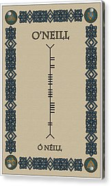 Acrylic Print featuring the digital art O'neill Written In Ogham by Ireland Calling