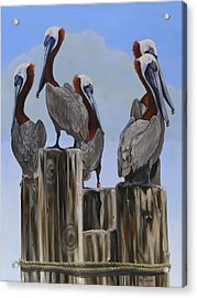 Acrylic Print featuring the painting Pelicans Five by Phyllis Beiser