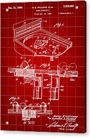 Pinball Machine Patent 1939 - Red Acrylic Print by Stephen Younts