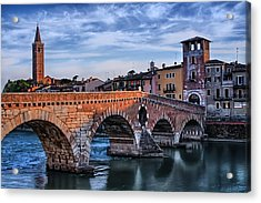Ponte Pietra Verona Acrylic Print by Carol Japp
