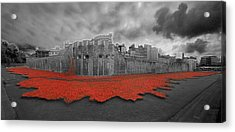 Poppies Tower Of London Collage Acrylic Print