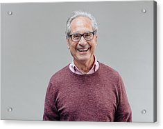 Portrait Of A Smiling Senior Business Man Acrylic Print by Serts