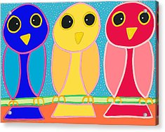 3 Primary Colored Owls Acrylic Print