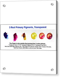 3 Primary Pigments - Apple Acrylic Print by Don Jusko