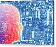 Printed Circuit Board And Wireframe Head Acrylic Print