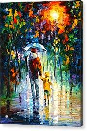 Rainy Walk With Daddy Acrylic Print