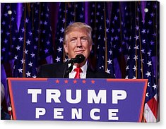 Republican Presidential Nominee Donald Trump Holds Election Night Event In New York City Acrylic Print by Chip Somodevilla
