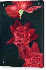 Acrylic Print featuring the painting 3 Roses Red by Katherine Miller