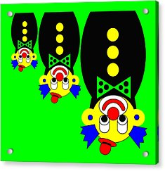3 Russian Clown Dolls Stand On The Head For You Acrylic Print by Asbjorn Lonvig