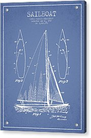 Sailboat Patent Drawing From 1927 Acrylic Print