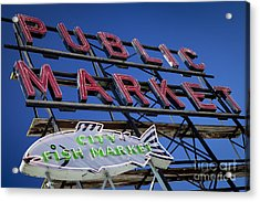 Seattle Market Sign Acrylic Print by Brian Jannsen