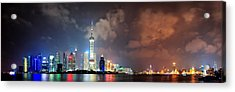 Shanghai Skyline At Night Acrylic Print