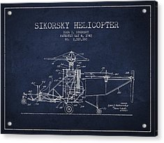 Sikorsky Helicopter Patent Drawing From 1943 Acrylic Print by Aged Pixel