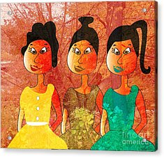 Acrylic Print featuring the drawing Sisters by Iris Gelbart