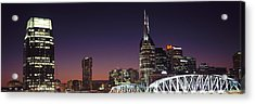 Skylines And Shelby Street Bridge Acrylic Print by Panoramic Images