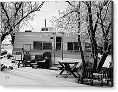 small trailer mobile home covered in snow in rural village of Forget Saskatchewan Canada Acrylic Print by Joe Fox