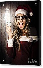 Smart Female Santa Claus With Christmas Idea Acrylic Print by Jorgo Photography - Wall Art Gallery