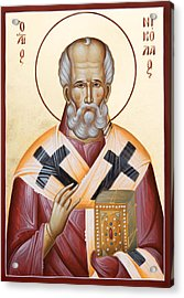 St Nicholas Of Myra Acrylic Print by Julia Bridget Hayes