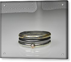 3 Stacking Silver Rings With 14k And 24k Gold Acrylic Print by Vesna Kolobaric