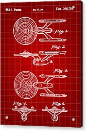 Star Trek Uss Enterprise Toy Patent 1981 - Red Acrylic Print by Stephen Younts