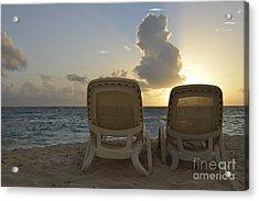 Sun Lounger On Tropical Beach Acrylic Print by Sami Sarkis
