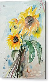 Acrylic Print featuring the painting Sunflowers by Ismeta Gruenwald