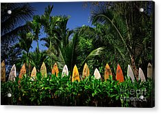 Acrylic Print featuring the photograph Surf Board Fence Maui Hawaii by Edward Fielding