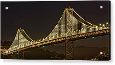 Suspension Bridge Lit Up At Night, Bay Acrylic Print