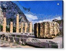 Temple Of Apollo In Delphi Acrylic Print by George Atsametakis