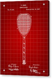 Tennis Racket Patent 1887 - Red Acrylic Print by Stephen Younts