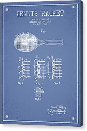 Tennnis Racket Patent Drawing From 1929 Acrylic Print