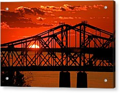 The Mississippi River Bridge At Natchez At Sunset.  Acrylic Print by Jim Albritton