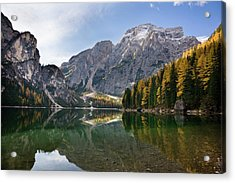 The Pragser Wildsee (lake Prags, Lago Acrylic Print by Martin Zwick