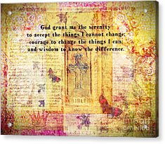 The Serenity Prayer With Christian Cross Acrylic Print
