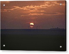 The Setting Sun In The Distance With Clouds Acrylic Print