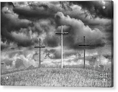 Three Crosses On Hill Acrylic Print by Thomas R Fletcher