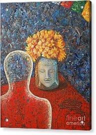 Tibetan Prayers Acrylic Print by Mini Arora