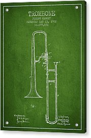 Trombone Patent From 1902 - Green Acrylic Print by Aged Pixel
