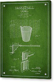 Vintage Basketball Goal Patent From 1925 Acrylic Print by Aged Pixel