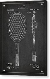 Vintage Tennnis Racket Patent Drawing From 1921 Acrylic Print