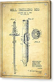 Vintage Well Drilling Rig Patent From 1941 Acrylic Print by Aged Pixel