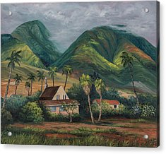 Acrylic Print featuring the painting West Maui Mountains by Darice Machel McGuire
