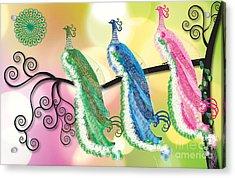 Visionary Peacocks Acrylic Print