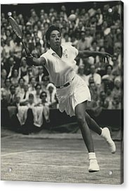 Women�s Singles Semi-finals At Wimbledon. Althea Gibson Beats Ann Haydon Acrylic Print by Retro Images Archive