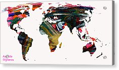 World Map And Human Life Acrylic Print by Augusta Stylianou