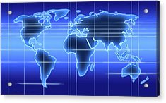 World Map Illustration With Time Zones Acrylic Print by Alfred Pasieka